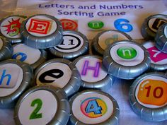 Bottle caps- letters and numbers sorting game