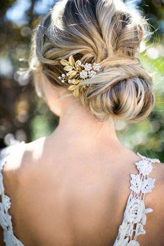 Gold Leaf Laurel Hair comb, Boho Bridal hair comb, Vintage Bridal Crystal…