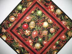 Reserved for Chris Christmas Table Topper Ornaments quilted