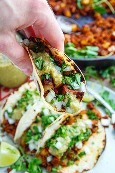 Chorizo and Potato Tacos with Avocado Salsa Verde Recipe : Tasty chorizo and crispy fried potato tacos with salsa verde, onions and cilantro! Chorizo And Potato, Sweet Potato Tacos, Entree Recipes, Cooking Recipes, Healthy Recipes, Vitamix Recipes, Healthy Foods, Dinner Recipes, Avocado Salsa Verde Recipe