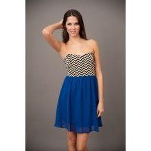 EVERLY: Jet Setter Dress-Cobalt - $48.00