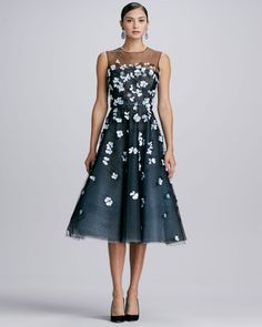 Oscar de la Renta Yoked 3d Floral Dress Blacktopaz - Lyst