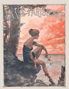 Chéri Hérouard (1881-1961). La Vie Parisienne, 25 Août 1917. Most probably by Hérouard - hairstyle, leg coverings & pose of Calypso, and sunset sky - eg darwinscans noted similarity to the L'Oiseau Bleu cover. Finally, Calypso is pining for Odysseus, released by order of Zeus from her island prison. [Pinned 22-iii-2015]