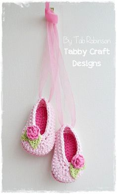 Crochet Pink Ballet with Ribbon 03 months by TabbyCraftDesigns