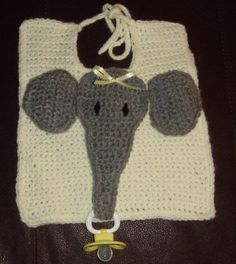 Yellow Elephant Bib with Pacifier Holder by thecrafter on Etsy, $10.00