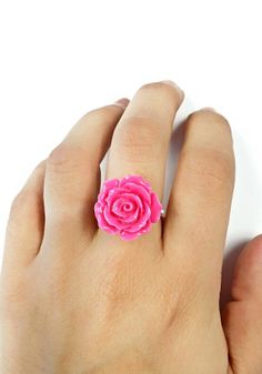 Extra Large Pink Rose Ring / Wire Wrapped by MalsRingsAndThings, $10.00