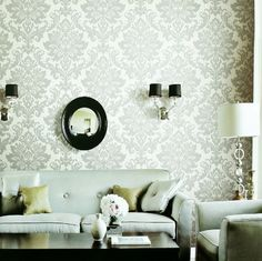 Damask-esque wall paper white and silver gorg!!