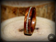 Bentwood Waterfall Bubinga Wooden Wedding Rings Handmade, Silver Glass Inlay - Bentwood Wood Rings - Custom handcrafted wooden rings both durable and unique