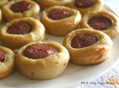 Sausage Roll Bites   1 link sausage, pre-cooked 1/4 cup coconut flour 2 packets sweetener 1/8 tsp salt 1/8 tsp baking soda 2 large e...