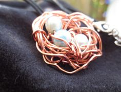 Ladies necklace with copper birds nest and by Somethingissparkling, $20.00