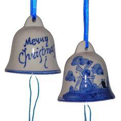 KERST BEL DELFTS BLAUW MERRY CHRISTMAS 7 CM