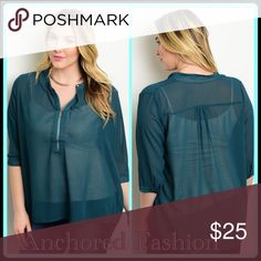 ➕Teal Semi-Sheer Top Teal Blouse sizes XL-3X 100% Polyester. Tops Blouses