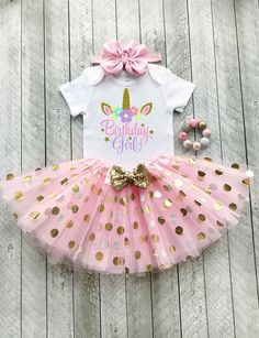 a18b9312a7ee Unicorn birthday outfit Pink and gold tutu Unicorn 1st birthday Pink and gold  1st birthday Baby girl 1st birthday outfit Pink and gold first