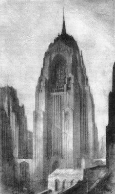 Hugh Ferriss: The Metropolis of Tomorrow | Ferriss imagined placing churches on top of apartments or offices in order to restore churches to a more prominent position in the skyline.