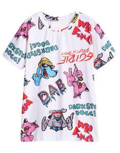 the latest 99d7b 6657f Dog Letters Print T-Shirt