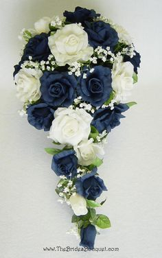 I like the idea of the trellis bouquet. I want a much more vibrant blue, though, and not quite so long.