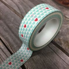 Washi Tape  15mm  Aqua Pink Hearts Design  Deco by InTheClear