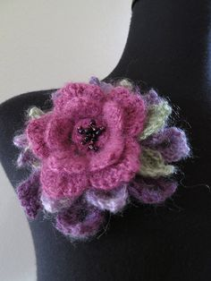 Lovely Maroon Purple Lavender Violet Green Crocheted Flower Brooch Pin