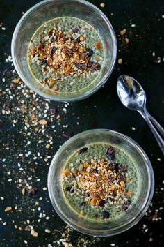 Matcha green tea chia pudding with nutty sesame crumble (vegan + gluten free)