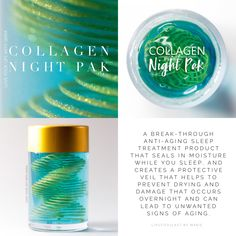 Collagen Night Pak by SeneGence. Helps keep moisture in during the night and can help decrease signs of aging