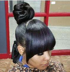 Bun Hairstyles with Bangs for Black Women 851 Best Urban Hairstyles ○ Natural Hair ○ Sew In Weaves Images On – AHA beauty Black Ponytail Hairstyles, Hair Ponytail Styles, Prom Hairstyles For Short Hair, Weave Hairstyles, Girl Hairstyles, Shaved Side Hairstyles, Bangs Hairstyle, Protective Hairstyles For Natural Hair, Natural Hair Styles