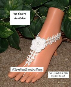 Rose Beach Wedding Barefoot Sandals that makes wonderful foot jewelry. Beach wedding anklet shoes in just your size. Wedding footless sandals that look like crochet lace sandals. Women Anklet Bracelet https://www.etsy.com/your/shops/ABarefootSandalsShop/tools/listings/section:20951306 Beach Wedding Shoes https://www.etsy.com/your/shops/ABarefootSandalsShop/tools/listings/section:20836359 Barefoot Sandals https:...