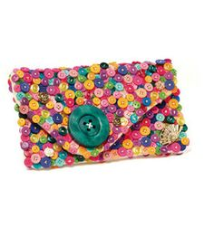 This clutch is covered in #buttons! Love it!