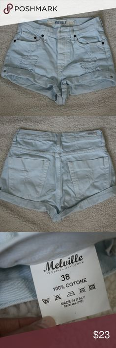 Brandy Melville Denim High Waisted Shorts Brandy Melville Denim High Waisted Shorts  •Like new (wore like twice but they're too big on me) •Light blue-ish denim •No flaws (the distressing is for design not because they were worn a lot) •Size says 38 but they fit like a small Brandy Melville Shorts Jean Shorts