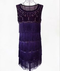 Summer Women Black Sexy Party 1920s Style Vintage Flapper Beaded Fringe Glamour Great Gatsby Charleston Dress 606