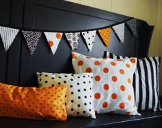 Halloween fabric banner with matching pillow covers