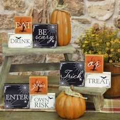 """Three-Brick Halloween Messages Assorted Designs Set of 3 different messages 5""""H x 8""""W x 0.5""""D Stenciled words Add to your Autumn table or mantle and scatter fall leaves, mini pumpkins and acorns for instant fall décor."""