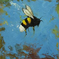 Bee painting 283 12x12 inch insect animal portrait original oil painting by Roz