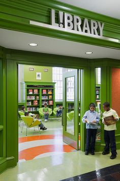 The entrance -- not green but ours needs to draw kids ---- Robinhood Library… School Library Decor, Middle School Libraries, Elementary School Library, Teen Library, Elementary Schools, Library Signage, Library Programs, Library Inspiration, Library Ideas