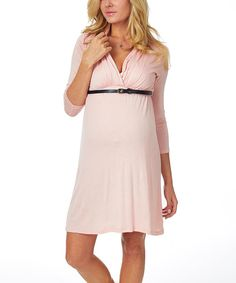 Look at this PinkBlush Maternity Pale Pink Belted Maternity/Nursing Dress - Women on #zulily today!