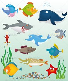 Cartoon fish set — Transparent PNG #ocean #sea • Available here → https://graphicriver.net/item/cartoon-fish-set/674675?ref=pxcr