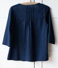 Women's japanese style top deep blue swiss dots 100% by bymamma190