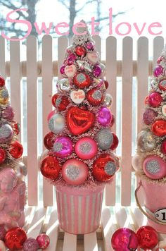 Valentine bottle brush trees