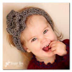 crocheted flower headband - - Crochet Practice ~ Sugar Bee Crafts