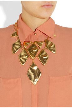 Kenneth Jay Lane  22-karat gold-plated oversized necklace