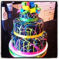Glow in the dark Cake for a glow in the dark party! - Use florescent/neon Icing that will glow under a black light