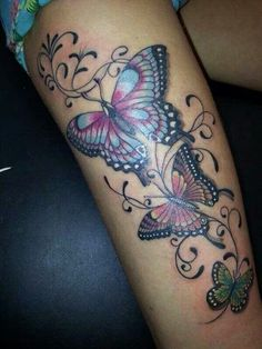 40 Butterfly Tattoo Designs for Boys and Girls - Butterfly Tattoos – love the colours :] - Girly Tattoos, Pretty Tattoos, Sexy Tattoos, Beautiful Tattoos, Flower Tattoos, Body Art Tattoos, Sleeve Tattoos, Tattoos For Women, Tatoos