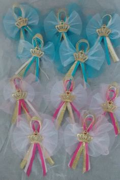 Handmade Pink and Gold or Blue and Gold guest corsage, shower favor, royal celebration, royal baby shower, royal guest, set of 12 by InspirationsByAlex on Etsy