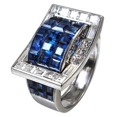 Art Deco Invisibly Set Sapphire Diamond Ring