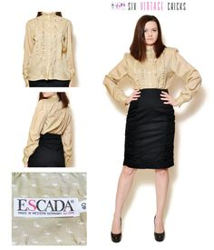 ruffle shirt vintage boho blouse Escada blouse formal blouse office clothes beige shirt sexy tops bohemian 80s clothing women clothing by SixVintageChicks on Etsy