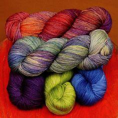 malabrigo Sock. Archangel, Indiecita, Violeta Africana, lettuce and Impressionist Sky,