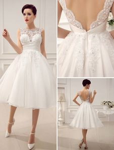 Vestido de noiva curto marfim com renda e decote V Milanoo