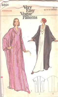 Vogue 8501 1970s Misses Loungewear CAFTAN Pattern V by mbchills