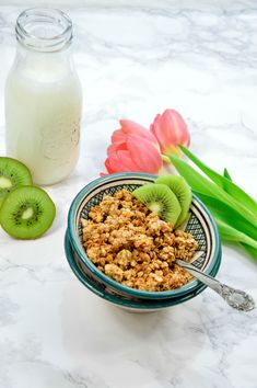Marzipan Granola Marzipan, Kiwi, Granola, Cereal, Breakfast, Food, Oven, Food And Drinks, Essen