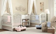 Baby Nursery Celebrities' Baby Nursery Room You Can Get Inspired from: Beautiful Twin Baby Girl Nursery Decoration Ideas Double Crib With White Curtain Sleeper Chair Floor Lamp White Wall Paint Multipurpose Cabinet