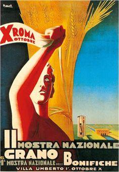 Marcello Nizzoli per la II Mostra Nazionale del Grano_I Mostra Nazionale delle Bonifiche_Villa Umberto I Ottobre X E.F.